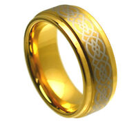 8mm TUNGSTEN CARBIDE MEN'S celtic pattern WEDDING BAND RING GOLD PLATED SZ 5-15