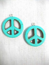 HIPPIE PEACE SIGN TURQUOISE BLUE HOWLITE GEMSTONE DANGLING PENDANT SIZE EARRINGS