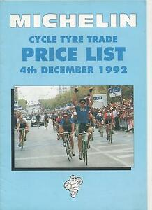 MICHELIN CYCLE TYRE TRADE PRICE LIST CATALOGUE 1992  - INCLUDES VALVE REFERENCES