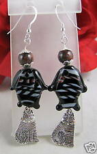 Artisan Glass Fish & Cat Charm Earrings  CAT RESCUE