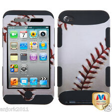 Apple iPod Touch 4 T ARMOR HYBRID SNAP ON CASE SKIN COVER BASEBALL BLACK