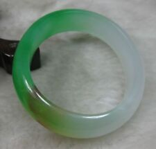 "NATURE GREEN RED YELLOW WHITE "" D"" Shape Oval JADE JADEITE BRACELET BANGLE"