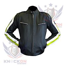 LEATHER MOTORCYCLE JACKETS MENS. BMW 3874 Fluorescent Real Cowhide Biker Coat