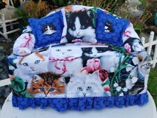 Sofa Couch Tissue Box Cover w/ Embellishments Black White Kitty Cat Lovers Print