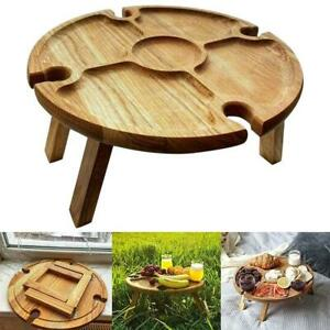 Wooden Outdoor Folding Picnic Table With Glass Holder