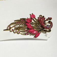 B-Ware Haarspange Pfau Metall Strass Acryl Vintage Look Haarklammer pink rosa