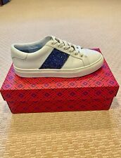 Tory Burch Carter white leather glitter sneakers Size 7 NIB