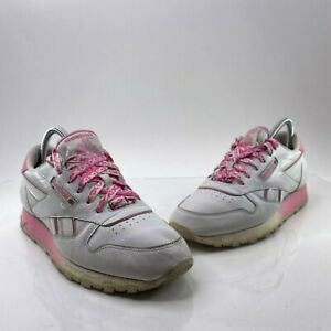 Reebok Classic Mens/Boys Size 7 White Pink Leather Club C Revenge Sneakers Shoes