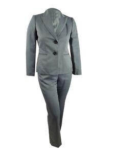 Le Suit Women's Herringbone Pantsuit (10, Steel Multi)