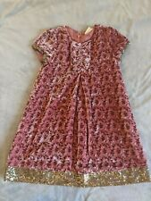 Mini Boden sweater dress coral velour and gold sequin trim size 7-8 yr