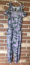 Justice Girls 10 Soft Camouflage Jumpsuit Cold Shoulder in Greens Purple
