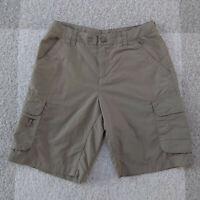 REI Hiking Shorts Beige Khaki Nylon Cargo Casual Women's Shorts Size 2 Pockets