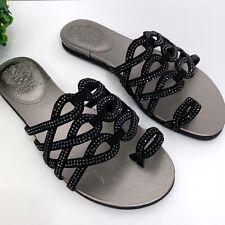 Vince Camuto Womens Size 9.5 W Emmista Embellished Toe-Loop Sandals Black NEW
