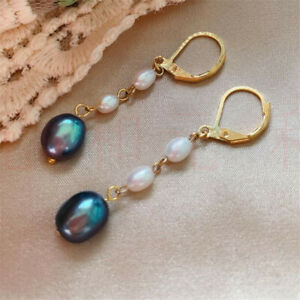 Natural Pearl gold Earrings eardrop 18K Chain girl Gift Hook Christmas Jewelry