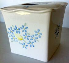 "Functional Ceramic Tissue Box 6.25"" x 6"" White Blue Yellow Flowers"