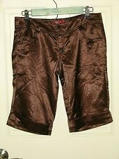 "Bershka 38 Womens Size 31"" Brown Shinny Cuffed Shorts 74-15140"
