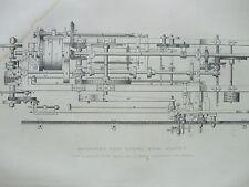 ANTIQUE PRINT 1854 MACINDOE'S SELF ACTING MULE ENGRAVING DIAGRAM PLATE 2 ETCHING