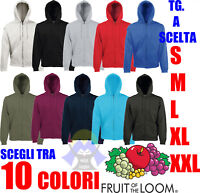FELPA Uomo ZIP E CAPPUCCIO Cotone FRUIT OF THE LOOM Felpata INTERA Donna INVERNO