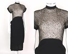Vtg 1940s Black Rayon Crepe Sheer Lace Bodice Cocktail Dress Sz S