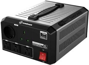 KRIEGER 1,700W Watt Step Up/Down Voltage TRANSFORMER. NEW. 120 TO 230 Volt