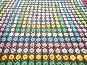 "Afghan Hand Crochet BLANKET THROW  Vintage 1970's Floral Pattern 65""X 72"""