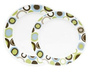 "CORELLE Lifestyles ROLA 8 1/2"" LUNCH PLATE Brown Blue Green RETRO DOTS"