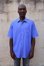 Hugo Boss Short Sleeved 100% Cotton Auth.Purple Blue Casual Shirt Sz 41 L SUPER