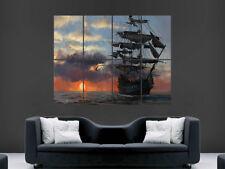 Imagen de póster de Agua Marina Barco Pirata Pared Puesta de Sol Imagen Art Print grandes