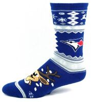 Toronto Blue Jays Ugly Christmas Sweater Reindeer Crew Socks Blue