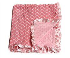 Large NEW Girls Pink Quatrefoil  Baby Keepsake Minky Dot Blanket w/ Satin Ruffle