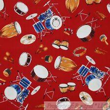 BonEful Fabric Cotton Quilt Red Blue Brown Wood DRUM Music Instrument Band SCRAP