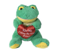 Heart Frog Stuffed Animal Plush Sitting Dark Green Toy 7 inches