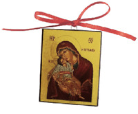 """Christmas Ornament- Orthodox Icon Virgin & Child -small(2"""") -Made in Greece -NEW"""