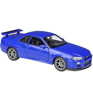 Welly 1:24 Nissan Skyline GT-R R34 Diecast Model Racing Car NEW IN BOX Blue