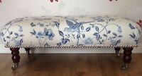 A Quality Long Footstool / Stool In Laura Ashley Summer Palace Royal Blue Fabric