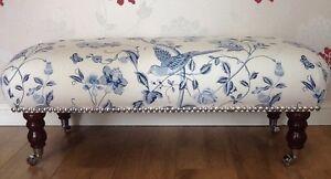 Footstool / Stool In Laura Ashley Summer Palace Royal Blue Fabric