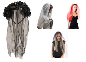 Ladies Black Veil with Flowers for Halloween Party Fancy Dress Costume Accessory