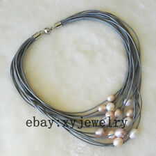15 row gray leather 10-12mm white pink purple Baroque fresh water pearl necklace