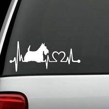 K1041 Scotty Scottish Terrier Heartbeat © Dog Decal Sticker Car Truck SUV Laptop
