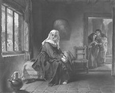 PRETTY YOUNG CUTE GIRL WOMAN, New NUN in CONVENT ~ Old 1865 Art Print Engraving
