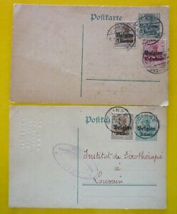 Belgium Two Franked postal Entire with German stamps under Reich Occupation