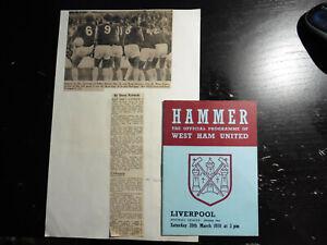 1970 West Ham v Liverpool +2 Match Report Cuttings 28/03/70 1969-70