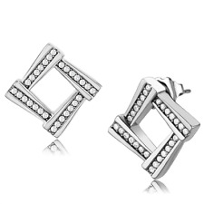 Pave Stainless Steel Studs Classy 333 Stud Square Simulated Diamond Earrings