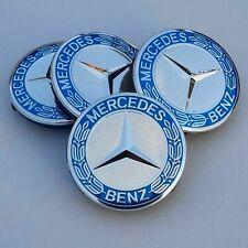 4x Mercedes Benz Alloy Wheel Centre Caps 75mm Badges Blue Hub Emblem - Fits All⭐