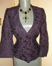 Goth Steampunk PURPLE Jacquard FLORAL boned waspie fit JACKET 12 UK Kaliko £139