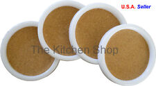 Coaster Set (4) Piece White Plastic with Cork for Bar Beverage Serving FREE SHIP