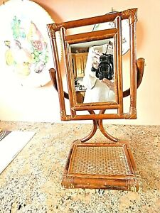 Vintage Bamboo & Rattan Campaign Vanity Mirror with Tray Stand