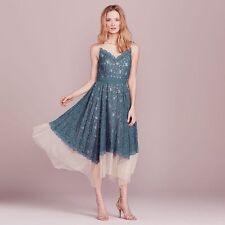 Lauren Conrad Dress Up Shop Sleeveless Blue Lace Tulle Hanky Hem Midi Dress 4