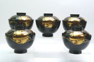 Makie Design 5 Set Japanese Miso Soup Rice Bowl with Lid Made in Japan
