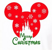 DISNEY***CHRISTMAS****CASTLE SNOWFLAKE**MICKEY MOUSE  T-SHIRT IRON ON TRANSFER
